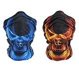 Meta-U 2Pcs/Pack Skull Print Multifunction Face Tube Masks with Wear Instruction