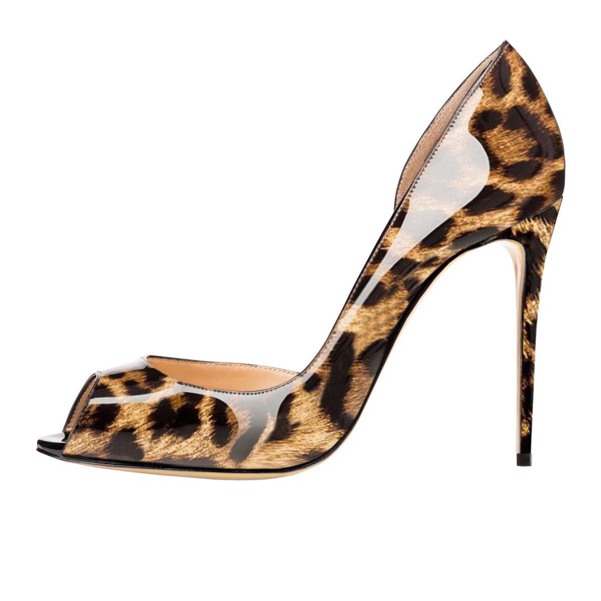 Chris-T Women Fashion D'Orsay Peep Toe with High Heel Stiletto Dress Party Pumps Size 5-15 US B078HP8JM9 13 B(M) US|Leopard/Red S0le(bottom)