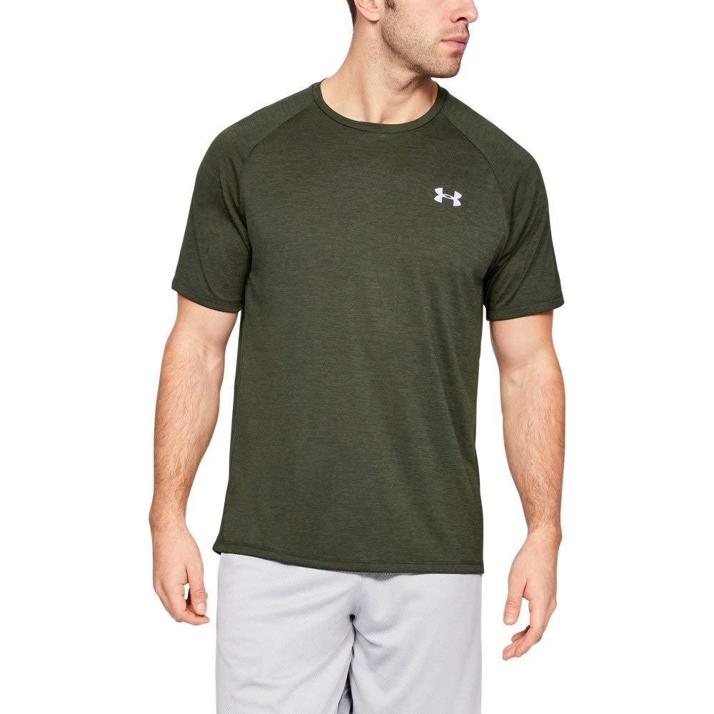Under Armour Men's UA Tech Short Sleeve Tee Artillery Green/White Large