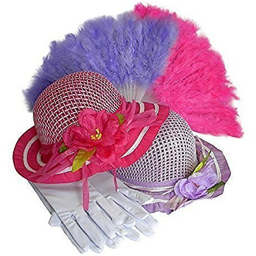 (Girls Tea Party Dress Up Play Set For 2 with Sun Hats Gloves and Fans Olivia by Cutie Collections)