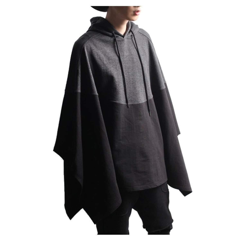 Tianshui Store Winter Mens Poncho Hoodie Irregular Splice Hooded Sweatshirt Pullover Coat