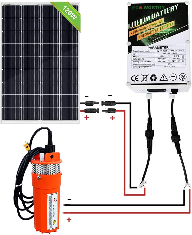 Garden Pair of Cable for Remote Watering ECO-WORTHY 100W Solar Water Pump Kit 100W Solar Panel 12V Water Pump 20A LCD Display PWM Controller Tank Filling Farm Irrigation