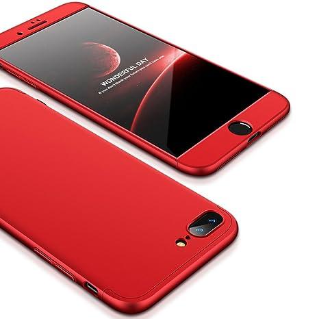 JMGoodstore Funda Compatible iPhone 7 Plus,Carcasa iPhone 7 Plus,360 Grados Integral Ambas Caras+Cristal Templado,[ 360°] 3 in 1 Slim Dactilares ...