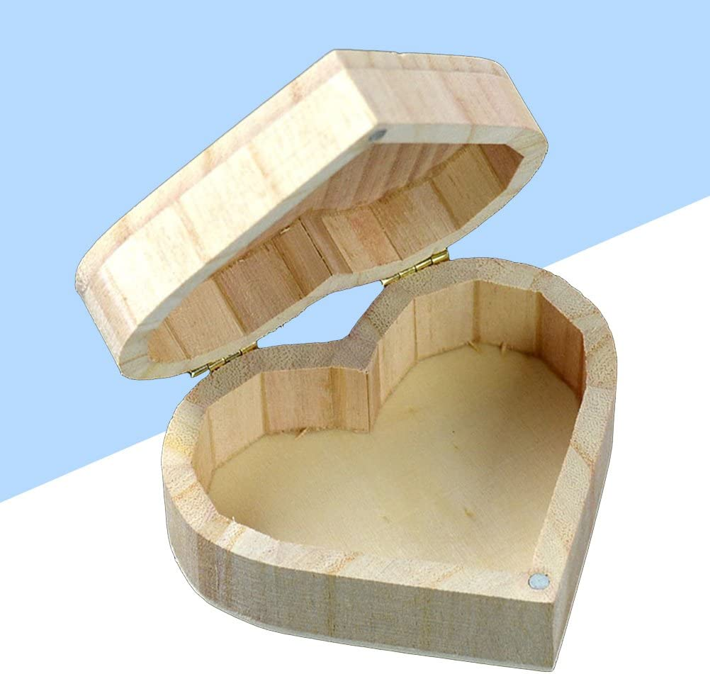 Lioobo Storage Wooden Box Heart Shaped Retro Wood Packaging Love Jewelry Boxes Home Kitchen