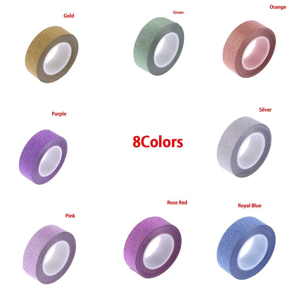 Papel adhesivo con purpurina cinta adhesiva colorida para manualidades 10 m x 1,5 cm plateado decoraci/ón