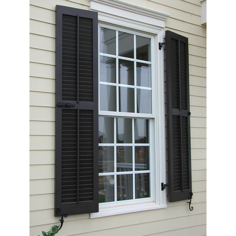 Per Pair Unfinished Ekena Millwork RWL15X055UNP Exterior Real Wood Pine Open Louvered Shutters 15W x 55H