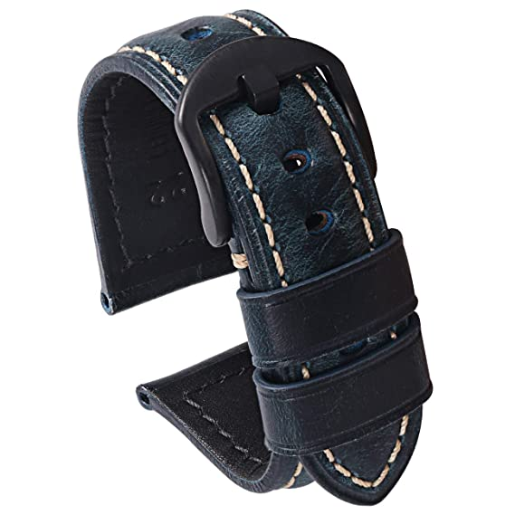 ac3e26238 Carty Mens Oil Wax Vintage Leather Watch Strap 22mm Blue Leather Watch Band  Brushed Black Buckle