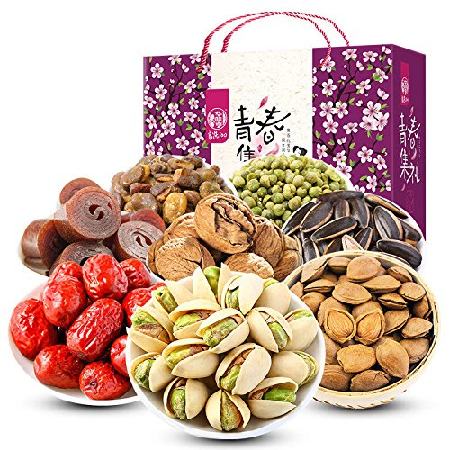China Good Food 美国华人过年春节送礼干货食品 China Food Snacks(华味亨 青春坚果炒货礼盒 1515g Nuts Gift Packs)送禮佳品New Year