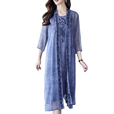 DISSA S8802 Women Vintage 3/4 Sleeve Midi Cocktail Plus Size Silk Summer Dress,