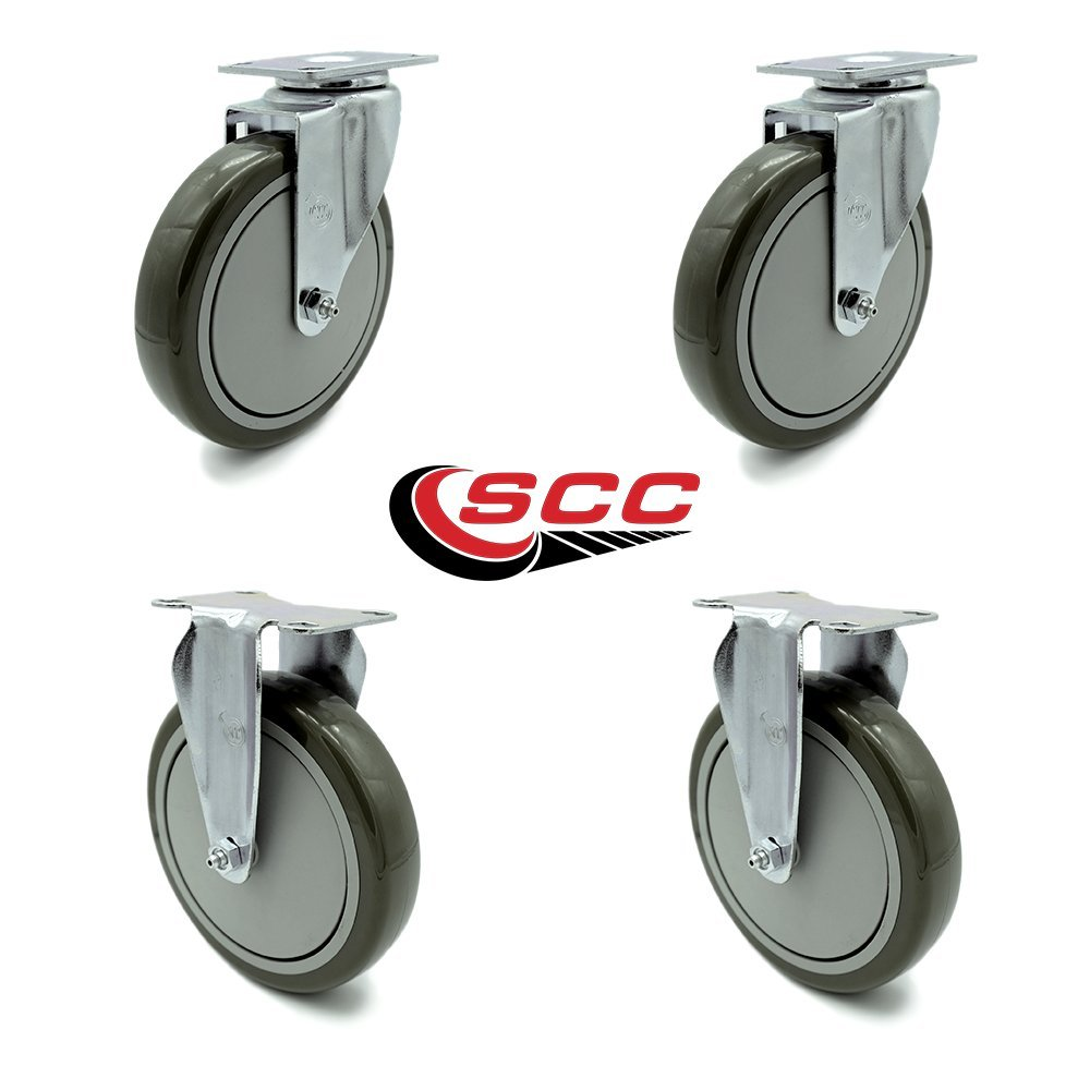 Service Caster - 6'' x 1.25'' Gray Polyurethane Wheels Caster Non-Marking Set of 4-2 Swivel/2 Rigid