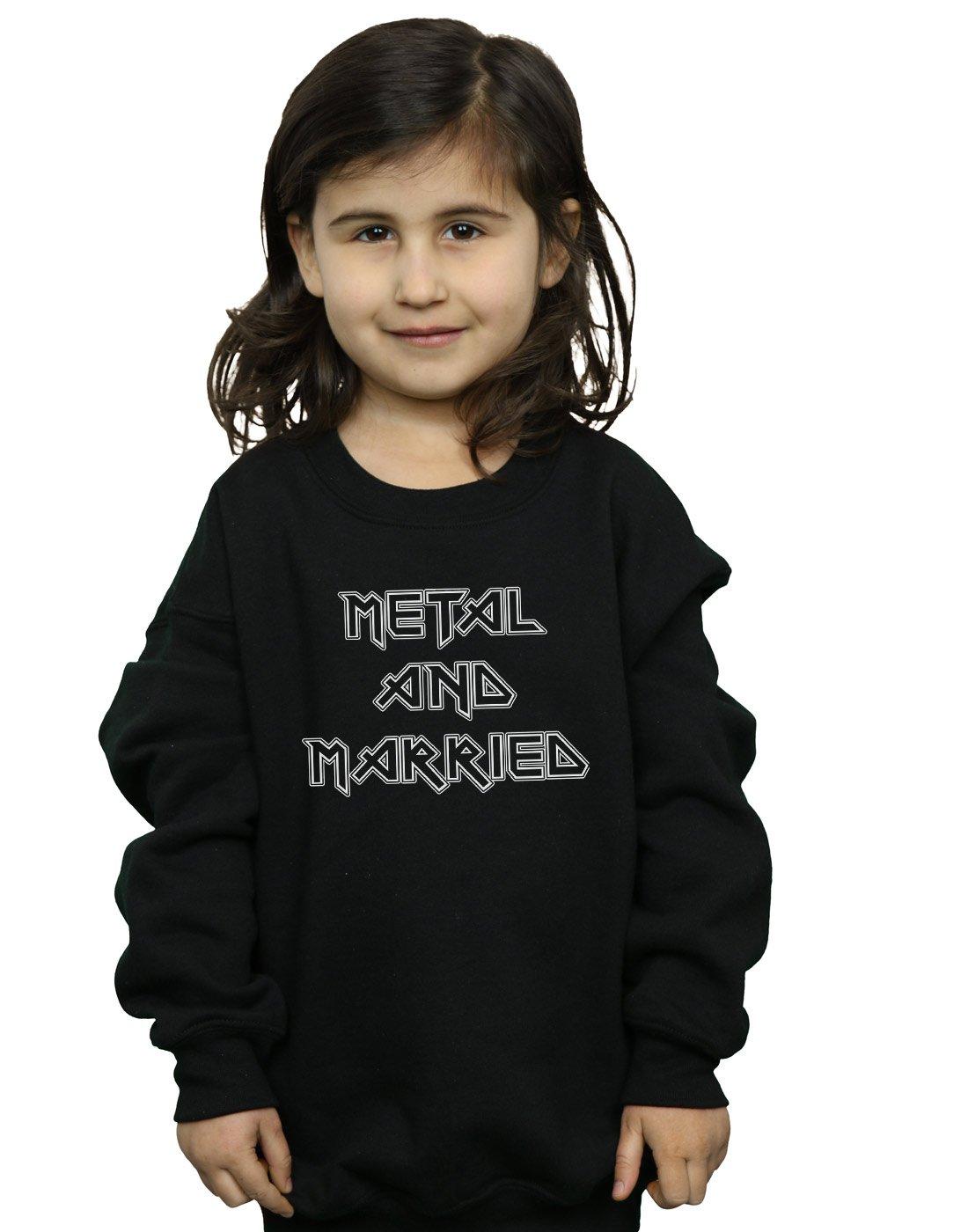 Absolute Cult Drewbacca Girls Metal and Married Mono Sweatshirt Black 9-11 Years