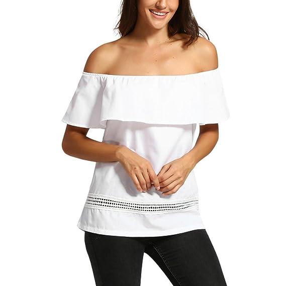 ASHOP Camisetas Muje, Camisetas Sin Mangas EN Oferta Suelto Tops Blusas de Mujer Elegantes de Fiesta Baratas Fuera del Hombro Sólido T-Shirt Moda 2018: ...