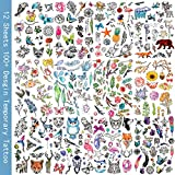 Oottati Waterproof 12 Sheets Summer 100+ Design Watercolor Painting Animal Flowers Leaves Small Fake Temporary Tattoo Stickers