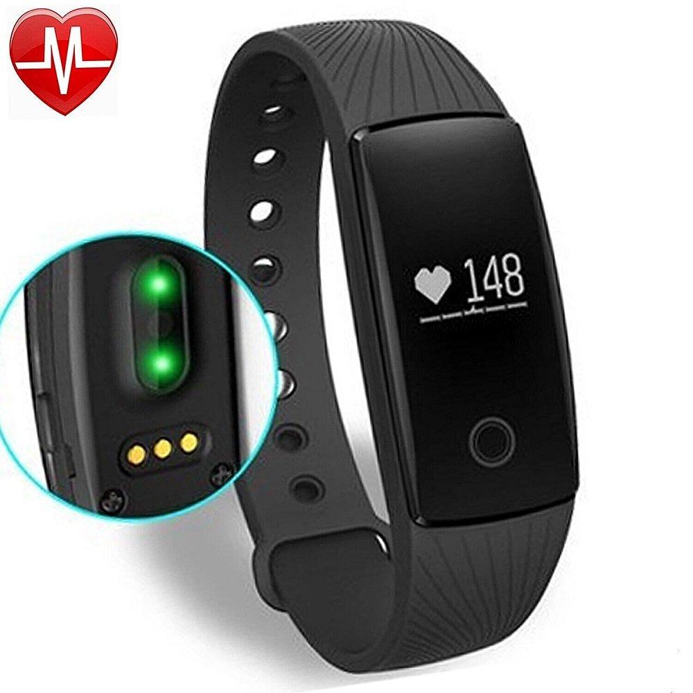 Fitness Tracker con Cardiofrequenzimetro,YAMAY® Bluetooth Smart Braccialetto Wristband Pedometro Attività Tracker con Misurazione Frequenza Cardiaca/Pedometro/Sonno Monitoraggio/Monitoraggio Calorie/Notifiche Chiamate/SMS/Whatsapp/ Compatibile per Android