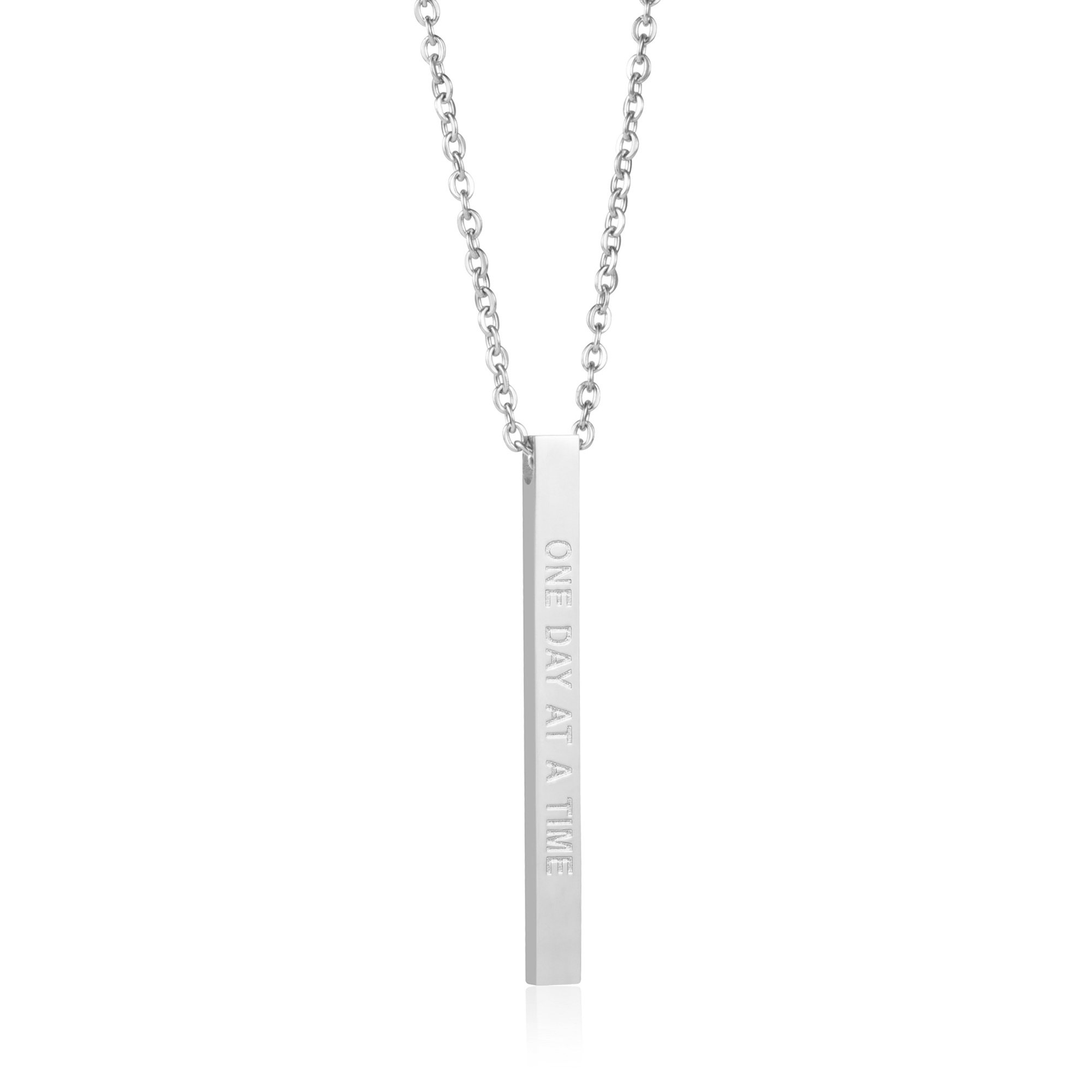 Joycuff Inspired Jewelry New Mom Gifts Vertical Bar Necklace Mantra Sobriety Saying One Day at A Time