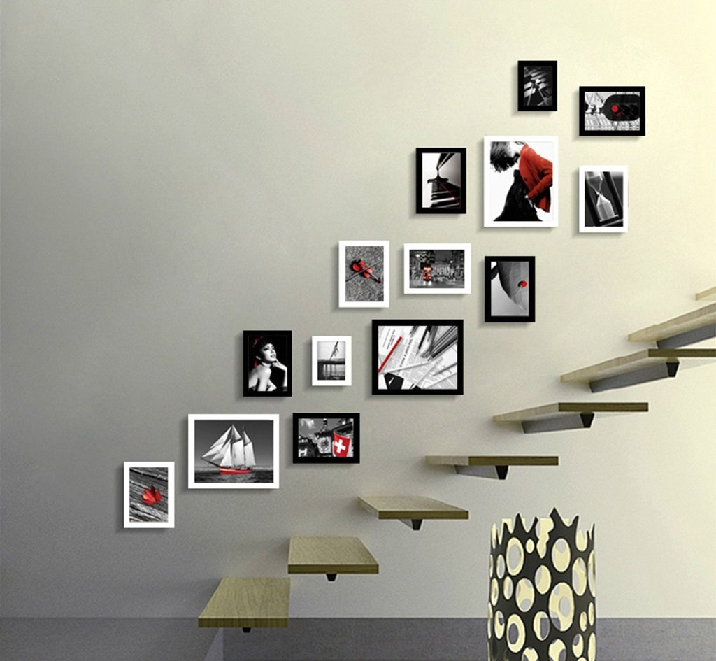 ZYANZ Modern Fashion Free Combination Staircase Photo Frame, Pine Rectangular Mosaic Photo Wall (14 Packs)