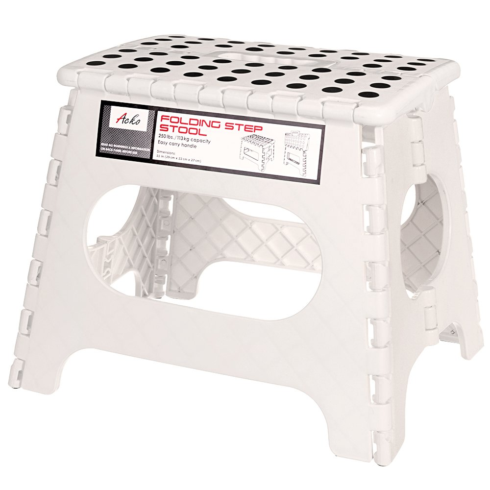 Acko Folding Step Stool - 11 Inches Non Slip Folding Step Stool for Kids and Adults with Handle, Holds up to 250 LBS, White by Acko