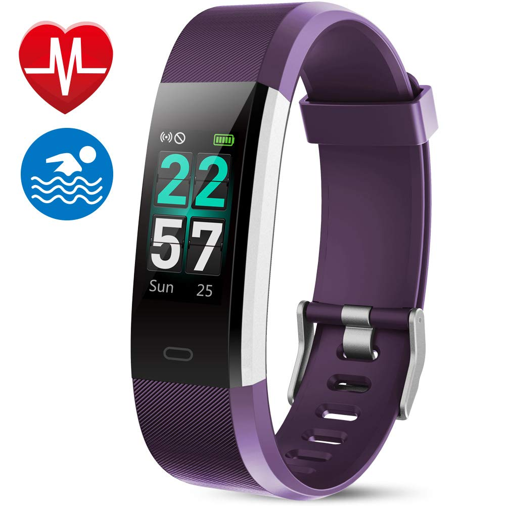MEBUYZ Fitness Tracker IP68 Waterproof Color Screen Fitness Watch Activity Tracker with Heart Rate Monitor, Step Counter, Calorie Counter for Women, Men & Kids, Purple