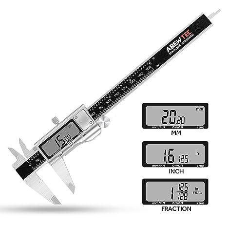 AREWTEC Calibre Digital, Pie de Rey 150mm, 3 Unidades: pulgadas/fracciones/métricas, Calibrador Electrónico de Acero Inoxidable, DCN15A Impermeable ...