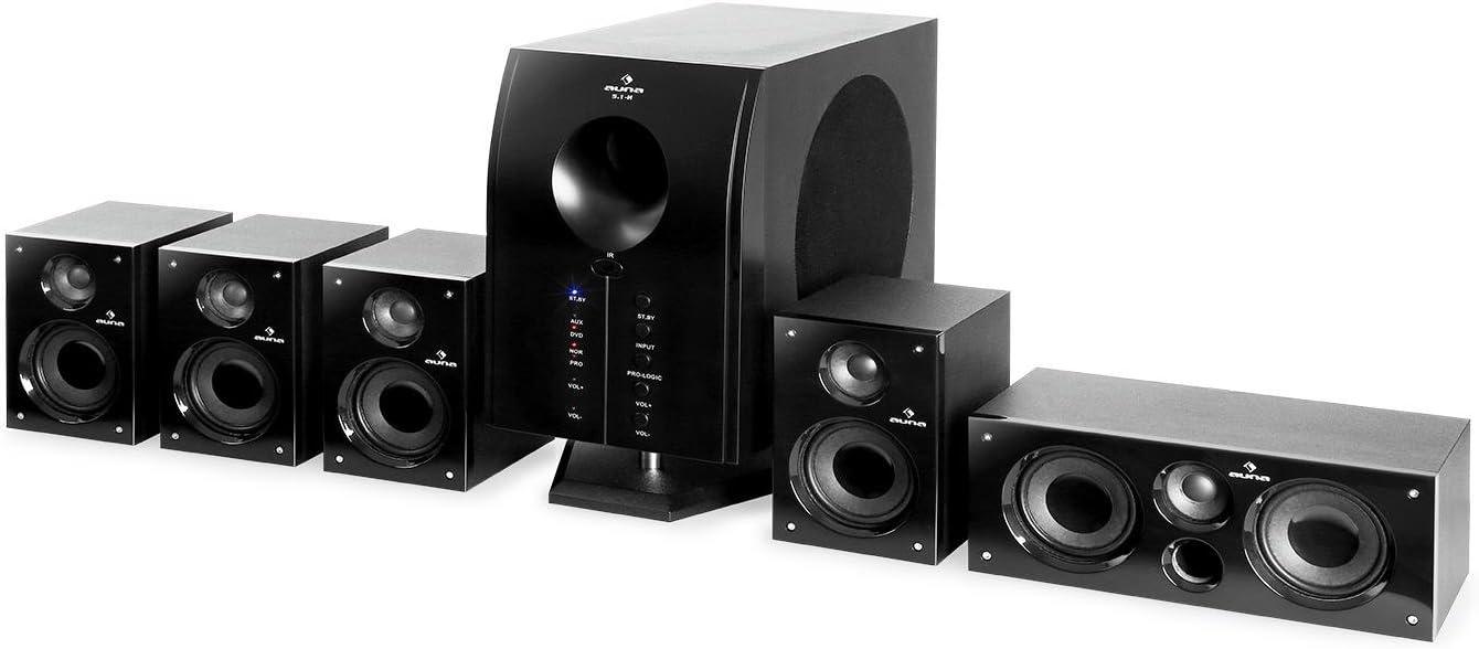 auna Areal 525 BK Home Cinema 5.1 - Equipo de Sonido Envolvente , 5 Altavoces Surround , Subwoofer Bass Reflex , Entrada AUX , 125 W RMS , > 60 dB , 20 - 20.000 Hz , Mando a Distancia , Negro