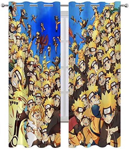 SSKJTC Sliding Door Curtains Naruto Multiple Poses Curtain Panel Pair