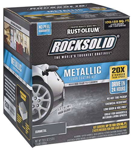Garage Floor Coating Kit - Rust-Oleum 299743 RockSolid Metallic Garage Floor Coating Kit, Gunmetal, 70 Fl. Oz