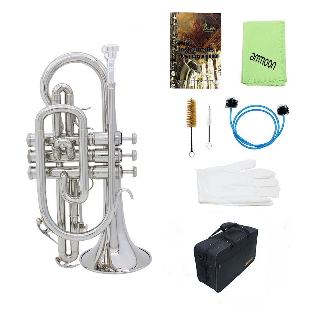 Professional Bb Flat Cornet Brass Instrument with Carrying Case Gloves Cleaning Cloth Brushes by Godyluck