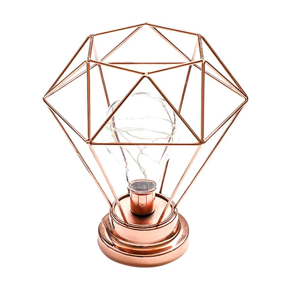 MMLsure® LED Leuchten, Batteriebetrieben kreatives Tischleuchte Schmiedeeisen Diamant Form Schlafzimmer Dekoration Foto Licht Dekoratives Lichter (Schwarz) MMLsure® LED Leuchten