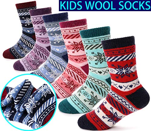 (Children's Wool Socks For Boy Girl Kid Thick Warm Thermal Cotton Winter Crew Socks 6 Pairs (Snowflake, 4-7Y))