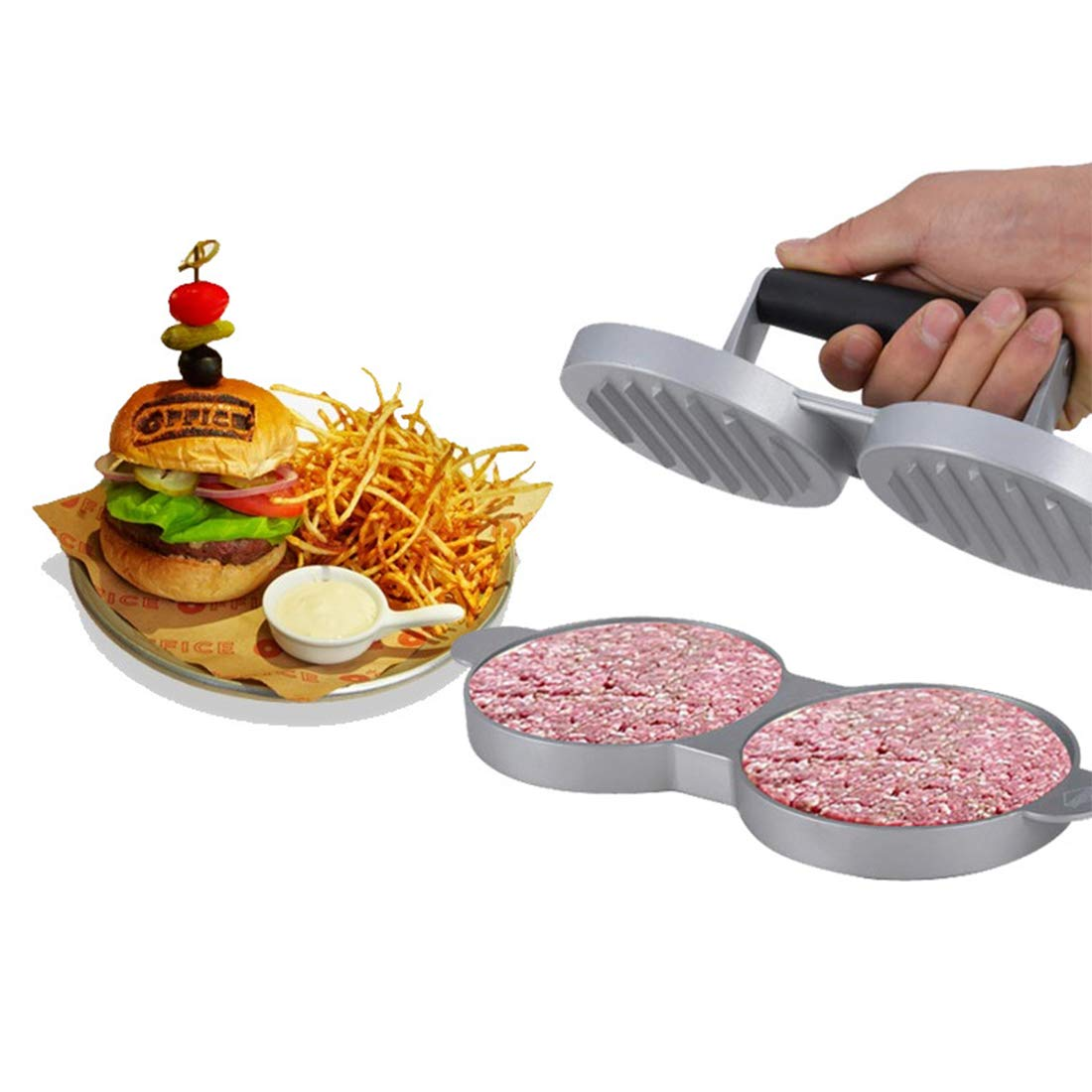 AVA Burger Press Professional Aluminum Patty Maker Quality BBQ Grilling Accessories with 50 Wax Paper Discs and Meat Remover (Double, Triple,Five)