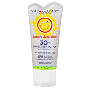 California Baby SPF 30 Sunscreen for Super Sensitive Skin, Broad Spectrum Sun Block for Kids, Babies and Adults, Water Resistant Mineral Based Protection, (2.9 ounces)