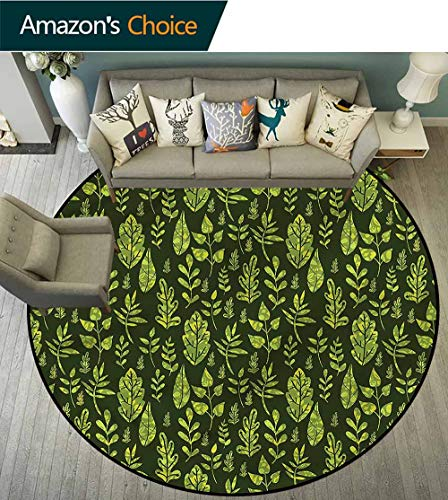 RUGSMAT Sage Round Area Rugs,Patterned Green Leaves Non-Slip No-Shedding Kitchen Soft Floor Mat Diameter-59 ()