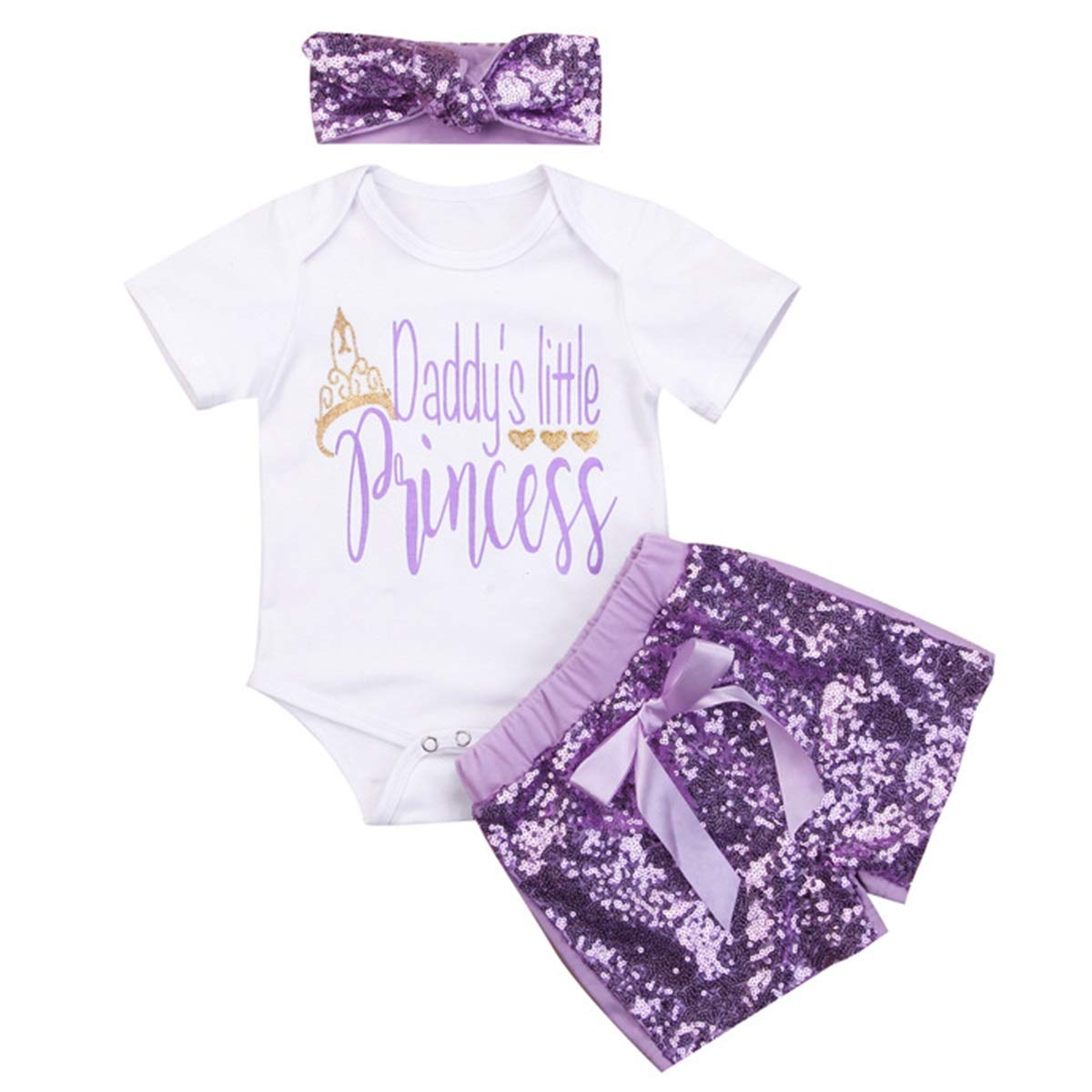 Sequin Shorts puseky Baby Girl Daddys Little Princess Romper Headband Newborn Toddler Summer Outfit Set