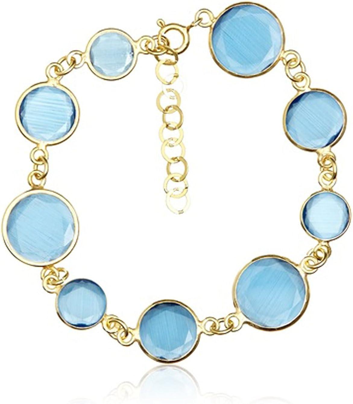 Córdoba Jewels | Pulsera en Plata de Ley 925 bañado en Oro con diseño Fashión Agua Marina