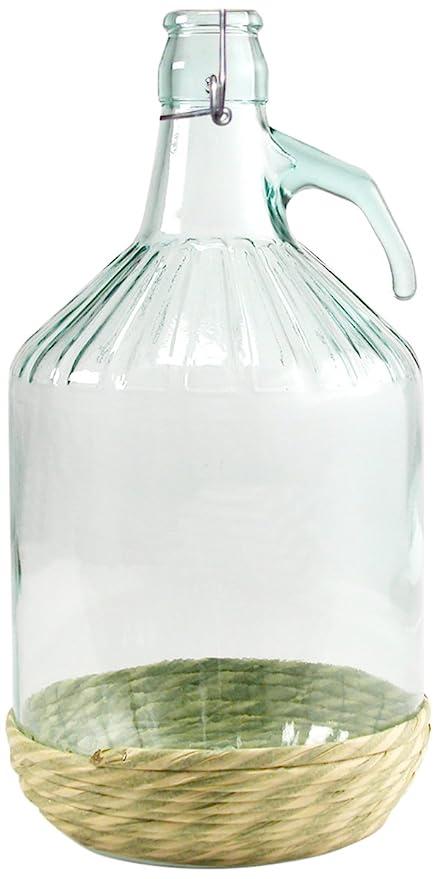 Home Damajuana con tapón mecánico, 5 litros, de Cristal, Transparente/Beige,