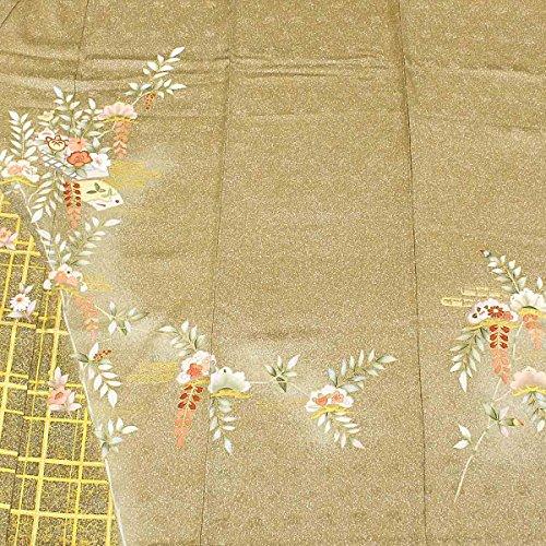 単衣 訪問着 四季草花 茶色 金彩 紗綾型 上品 フォーマル 正絹 着物 きもの リサイクル レディース 【中古】 90046162