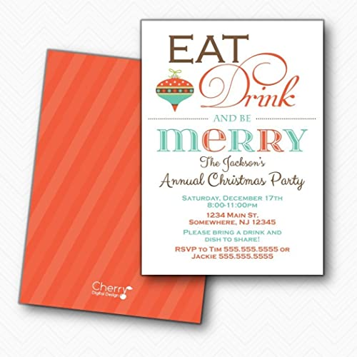 amazon com eat drink be merry christmas party invitations
