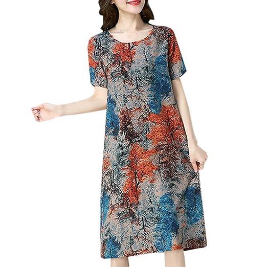 ab18e44aac9 Amazon.com  Women Baggy House Dress Plus Size Vintage Print Linen Dress Midi  Loose Casual Dress Kaftan Long Gown with Pocket 5XL Orange  Clothing