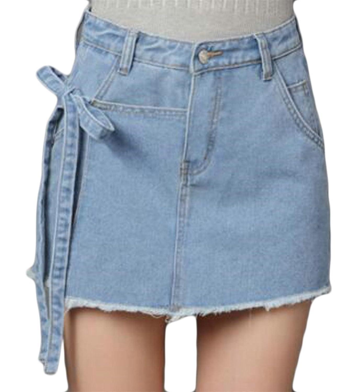 Fulok Womens Stylish Tie Side Washed Fadad Cut Off Denim Skirt Shorts