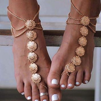 Boho Women Rhinestone Slave Anklet Chain Ring Beach Barefoot Harness Jewelry