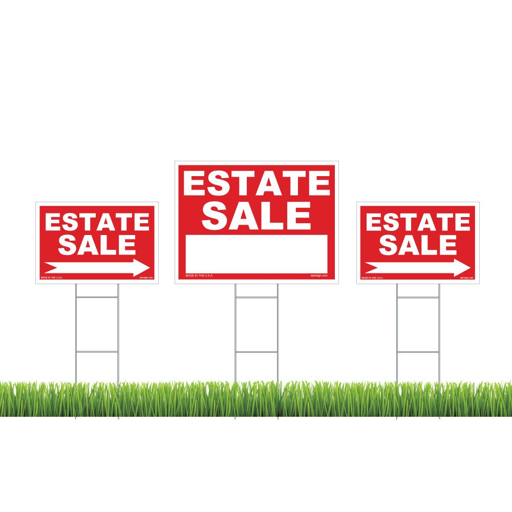 3-Pack Estate Sale Sign Kit - Double Sided Signs & With H-Stakes - Red Property Signs 18'' X 24'' and 12'' X 18'' - High Visibility Signs with Directional Arrows – Weatherproof & Tear proof