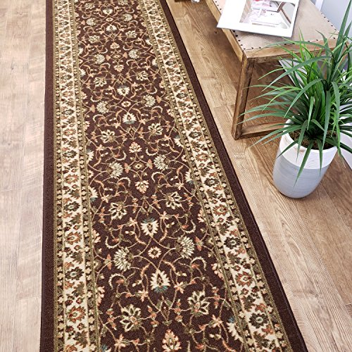 CUSTOM CUT 22-inch Wide by 23-feet Long Runner, Brown Traditional Non Slip, Non-Skid, Rubber Backed Stair, Hallway, Kitchen, Carpet Runner Rug - Choose your Width by Length
