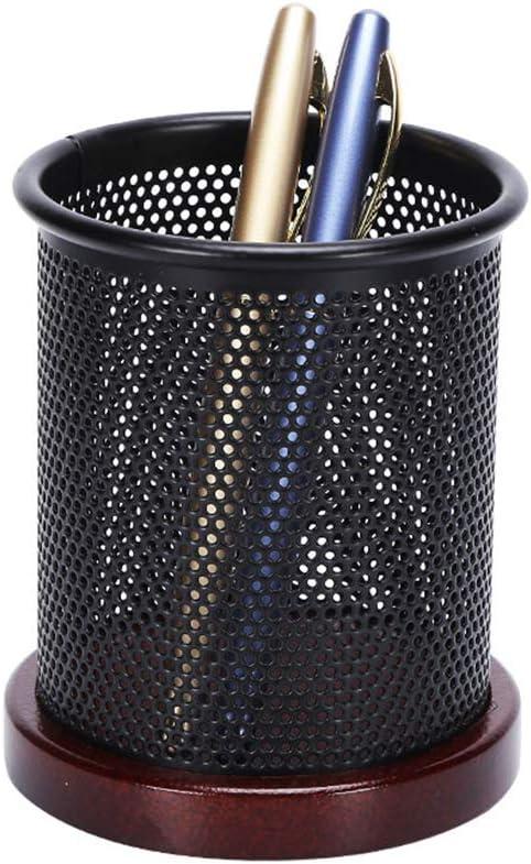 Multibey Nut-Brown Wooden Base Black Thick Mesh Pen Holder Heavy Duty Cylinder Pencils Pot Desktop Organizer Dispenser Office School Supplies (Nut Brown)