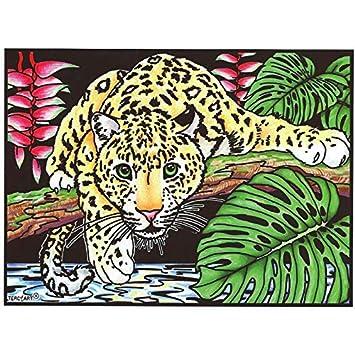 Lamina Para Colorear Con Caja De Rotuladores Jaguar Amazones Hogar