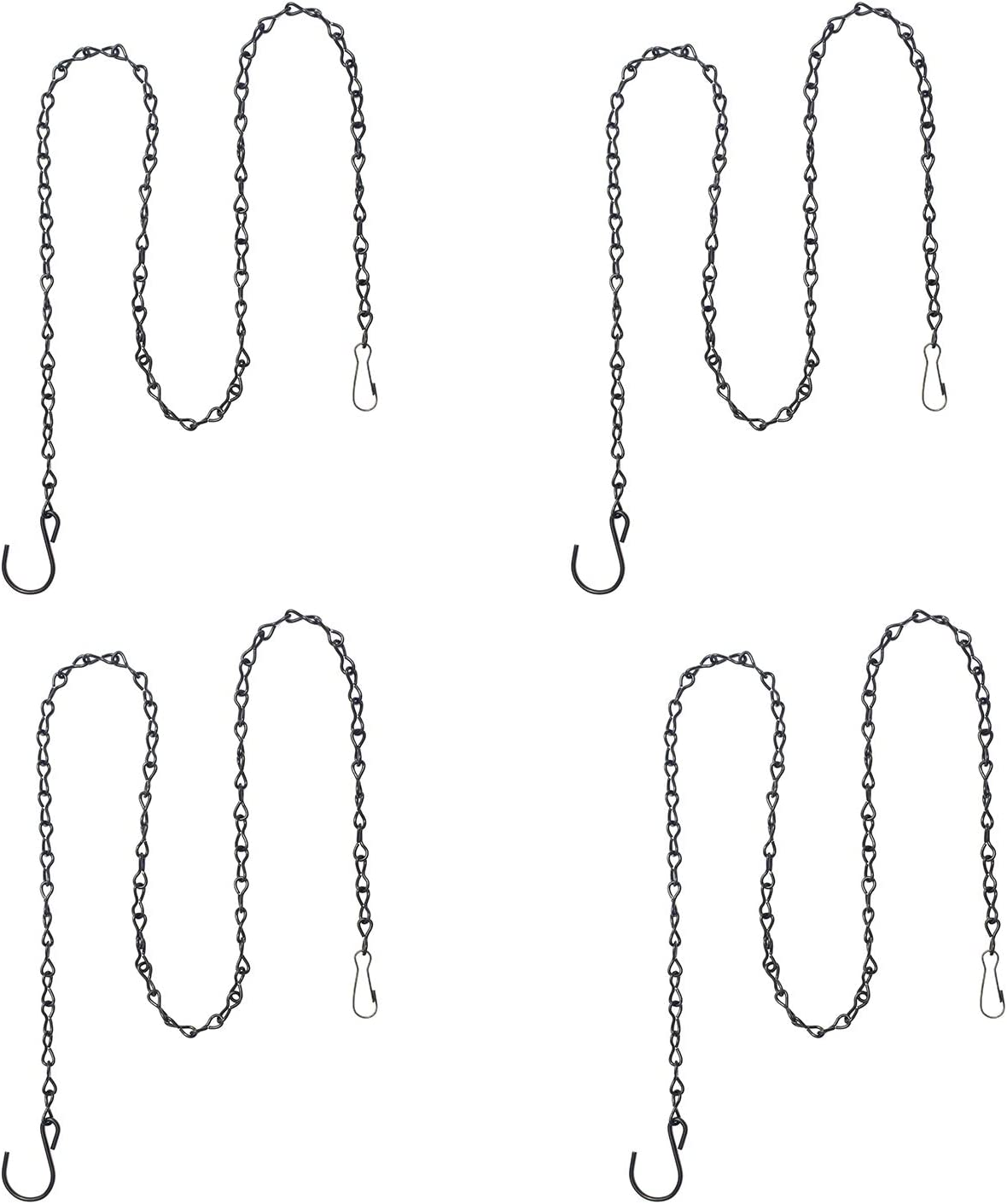 4 Pack 35 Inches Decorative Hanging Chains Black Hook Chains Mental Chain Hanger for Bird Feeders,Planters,Lanterns,Wind Chimes,Billboards, Chalkboards and More