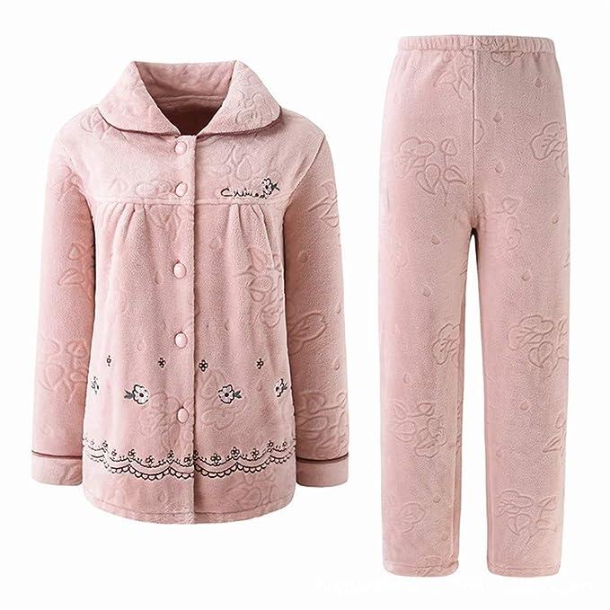 Pijamas de Mujer Otoño e Invierno Vellón de Coral Traje de Dos ...