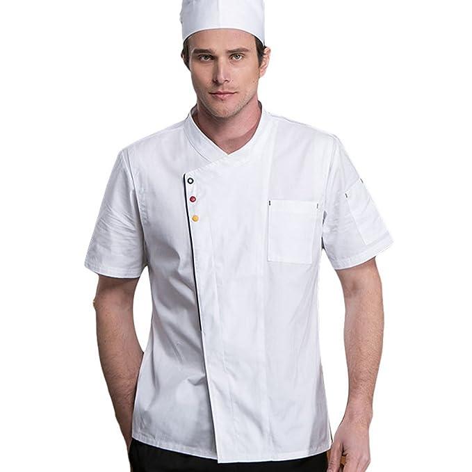 Dooxii Unisex Donna Uomo Estate Manica Corta Giacca da Chef Professionale  Ristorante Occidentale Cucina Mensa Hotel Uniformi Divise da Cuoco   Amazon.it  ... c5ee478a629d