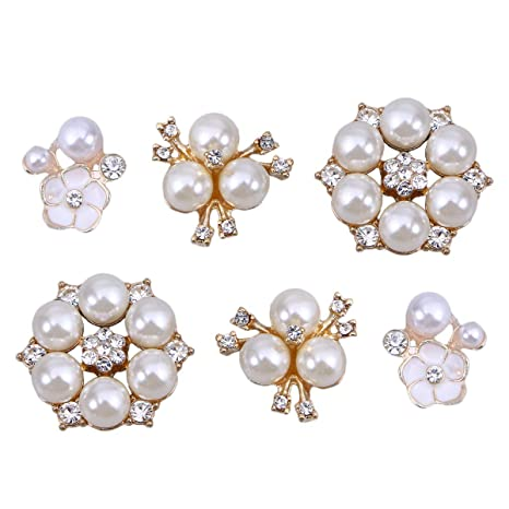 30 Pcs Rhinestone Pearl Embellishments Faux Flower Flatback Buttons For Party