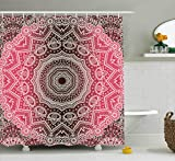 Hot Pink and Brown Shower Curtain Ambesonne Mandala Shower Curtain by, Retro Bohemian Ombre Print Primary Essence of Cosmos Medallion Style Art, Fabric Bathroom Decor Set with Hooks, 105 Inches Extra Wide, Hot Pink and Brown