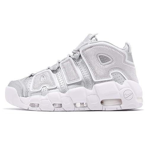 60a87a27b0bd1 Amazon.com | Nike Women's Air More Uptempo Metallic Silver/White ...